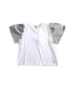 Blusa bianca con righe azzurre e bianche