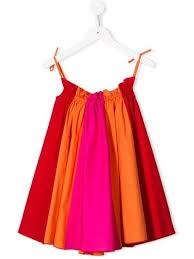 Vestito rosso, arancione e fucsia in popeline