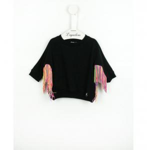 Felpa nera con frange multicolore