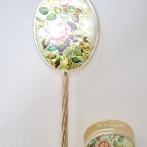 Specchio+portagioie Metallo Disegno Con Rose
