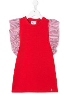 Vestito rosso in felpa con righe bianche e rosse