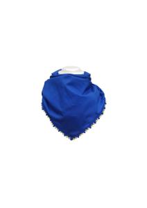 Sciarpa blu con pompon rosa, gialli e blu