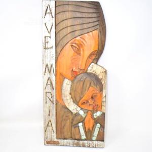 Icona Legno Ave Maria Intagliato