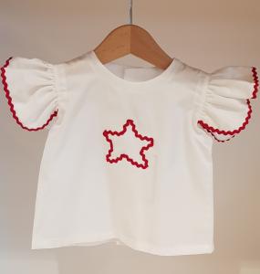 Blusa bianca con dettagli rossi
