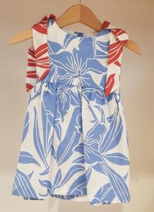 Vestito bianco con stampe fiori azzurri e rossi