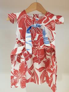 Vestito bianco con stampe fiori rossi e azzurri