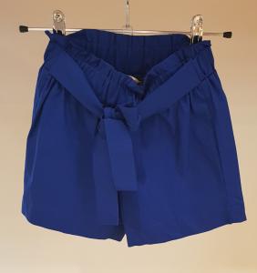 Pantaloncino blu in popeline con fascia