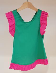 Blusa verde con dettagli fucsia