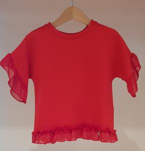 Blusa rossa in felpa con rouge