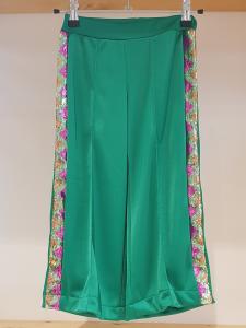 Pantalone verde in triacetato con bande glitter