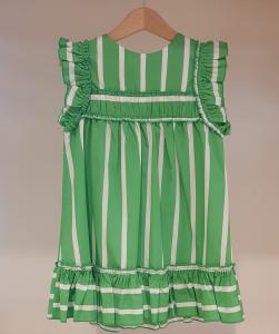 Vestito verde con righe bianche