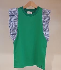Vestito verde in felpa con righe bianche e blu