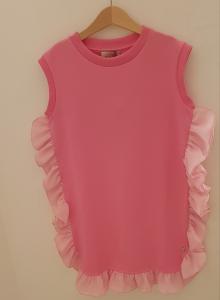Vestito rosa in felpa con rouge in chiffon