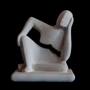 Statua pensatore da tavolo in pietra leccese lavorato a mano