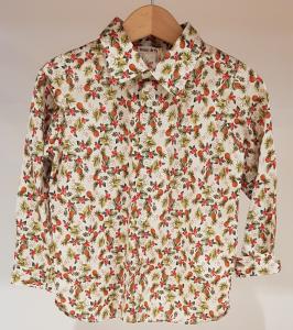 Camicia latte con stampe fiori e ananas, 3M-18M