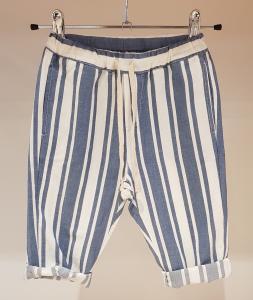 Pantalone a righe bianche e azzurre con laccio panna, 3M-24M