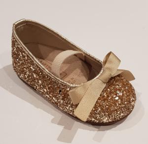 Ballerine oro glitter con fiocco