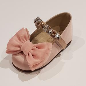 Ballerine rosa con fiocco e pietre