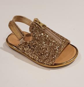 Sandali oro glitter con zip
