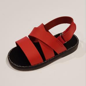 Sandali rossi in pelle con chiusura a strappo
