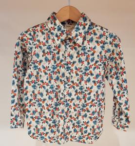 Camicia latte con stampe ananas e fiori, 3A-10A