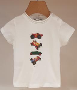 T-Shirt bianca con stampa macchine multicolore