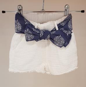 Pantaloncino bianco con nastro blu