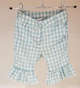 Pantalone a quadri bianchi e verde acqua