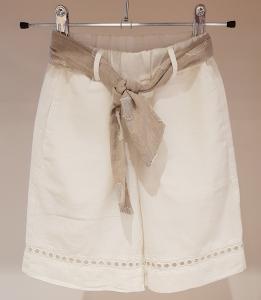 Pantalone bianco con nastro beige