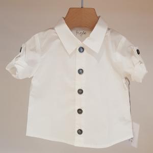 Camicia bianca con bottoni grigi