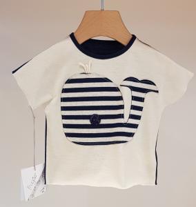T-Shirt bianca con toppa balena