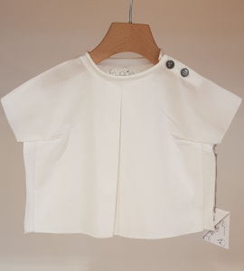 T-Shirt bianca con bottoni grigi