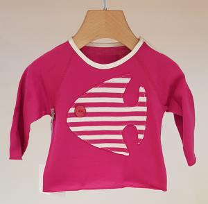 T-Shirt fucsia con toppa pesce