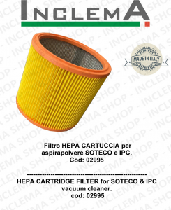 Filtro HEPA CARTUCCIA per  aspirapolvere SOTECO & IPC Cod: 02995