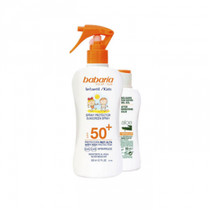 Babaria Sun Kids Sunscreen Lotion Water Resistant Spf50 Spray 200ml Set 2 Parti 2019