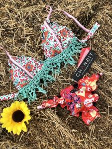 Bikini triangolo con frange e slip fianco Multiflower Changit