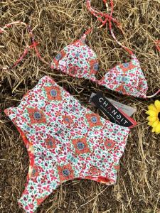 Bikini triangolo Retrò double-face Multiflower Changit