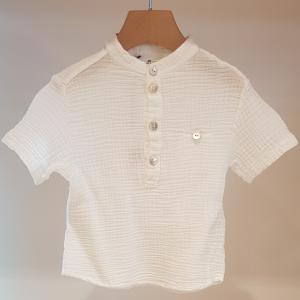 Camicia bianca con colletto coreano, 3M-12M