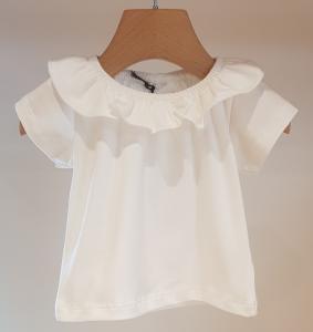 T-Shirt bianca con colletto a volant