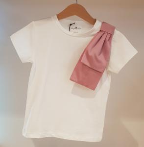 T-Shirt bianca con grande fiocco rosa