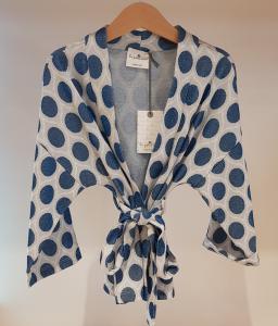 Kimono grigio con cerchi blu glitter
