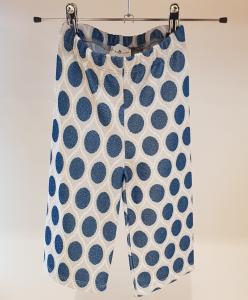 Pantalone grigio con cerchi blu glitter