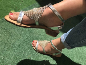 Sandalo argento con strass