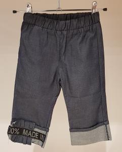Pantalone indaco con banda nera e stampa scritta argento glitter