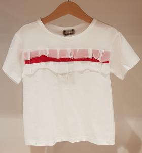T-Shirt bianca con banda rossa