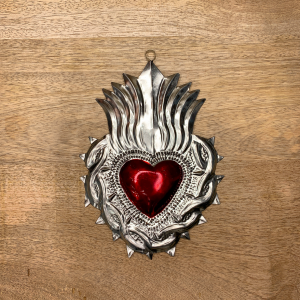 CUORE EX VOTO THORNS AND FLAMES