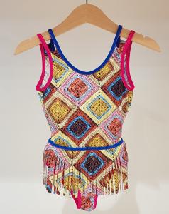 Costume da bagno con stampa rombi multicolore