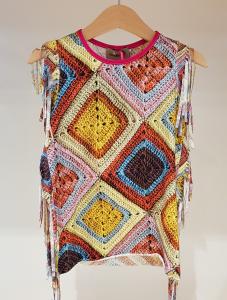 Vestito con stampa rombi multicolore