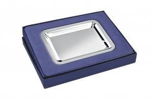 Vassoio rettangolare in silver plated stile Cardinale cm.15,8x13x2,1h