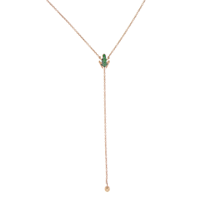 Y-shape necklace in gold and emeralds